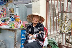 Old woman's smile on the street
