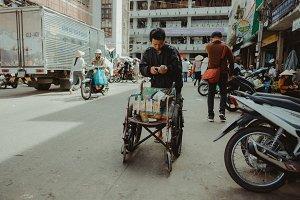 Disabled man on Dalat market