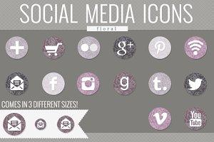 floral social media icons (lavender)