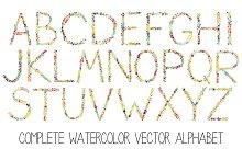 Watercolor floral alphabet