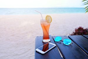 Iced drink at the sand beach