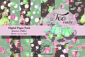 Tea party. Digital paper pack