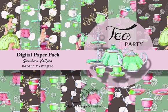 Tea Party Digital Paper Pack