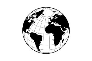 Globe icon with vector map.
