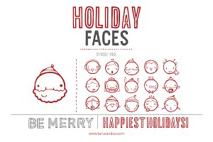 Holiday Faces (Clipart)