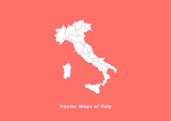 Vector Maps Of Italy Web Elements Creative Market - Maps of italy