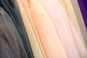 Colored fabric tulle background