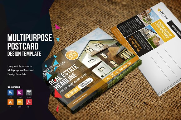 postcard design v1 card templates creative market