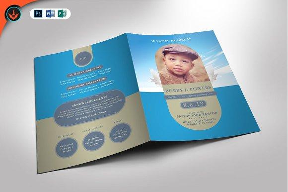baby blue funeral program brochure templates creative market