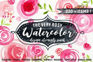 HAND PAINTED WATERCOLOR FLORAL PACK