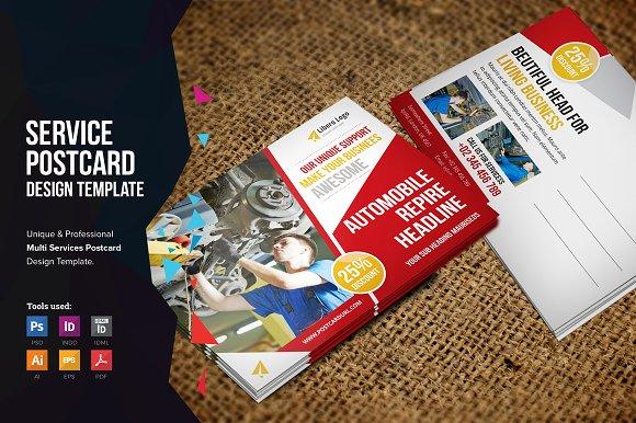 Postcard Design V Card Templates Creative Market - Unique business postcard template ideas