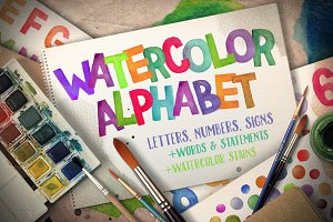 Watercolor Alphabet+Paint Stains