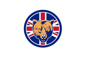 British Bear Union Jack Flag Icon