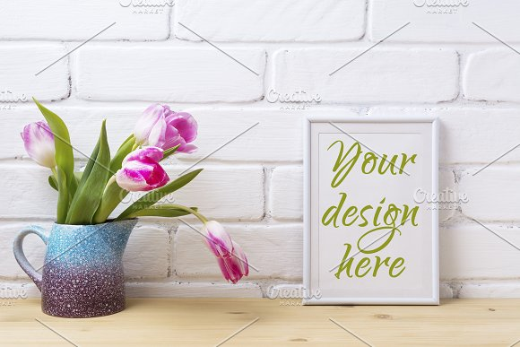 White Small Frame Mockup With Pink
