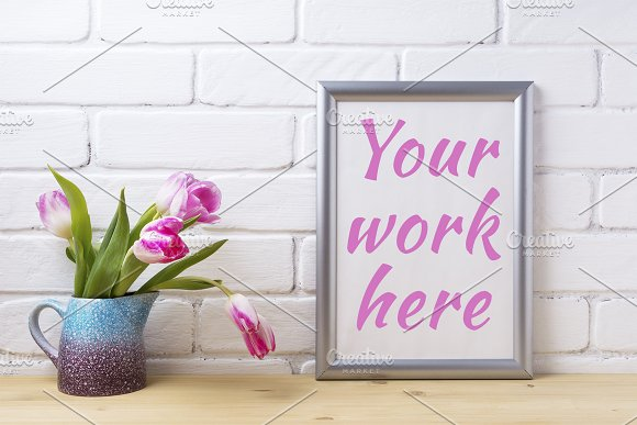 Silver Frame Mockup With Pink Tulip