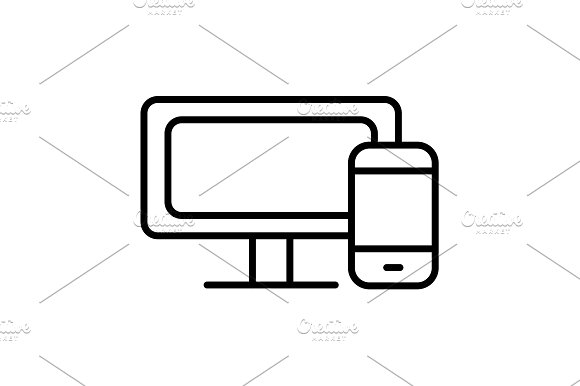 Monitor And Phone Icon Vector