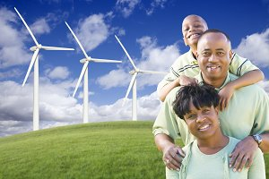 African American Family by Windmills