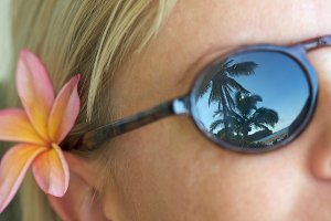 Woman Relaxing Sunglasses Reflection