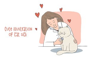 Cute illustration of cat sick!