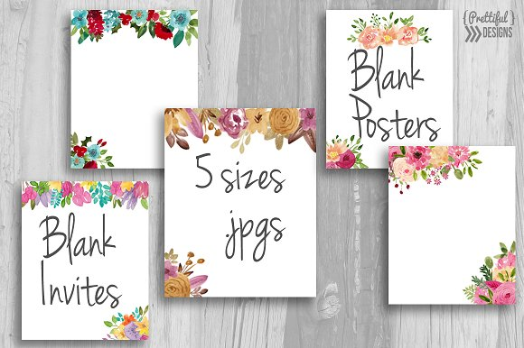 Watercolor Blank Posters And Invites
