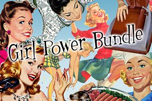 Retro Ad Elements Girl Power Bundle!