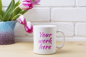 White coffee mug mockup with pink tu