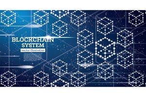 Blockchain Neon Outline Concept