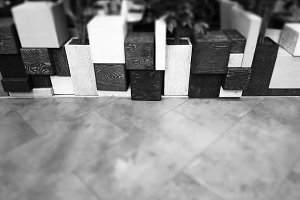 Black and white object cubes bokeh background
