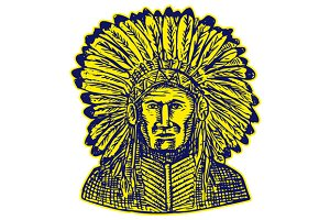 Native American Indian Chief Warrior