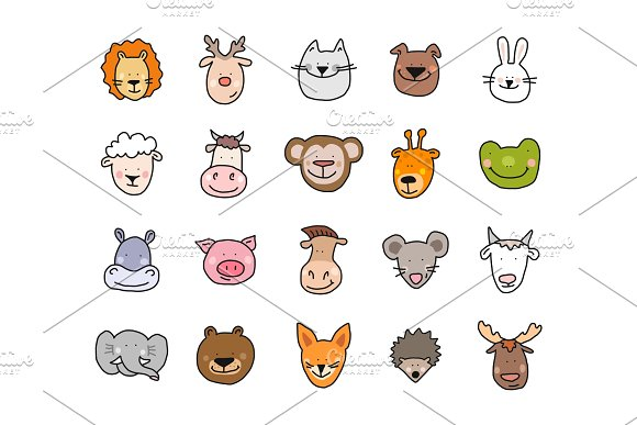 Cartoon Cute Animals Faces