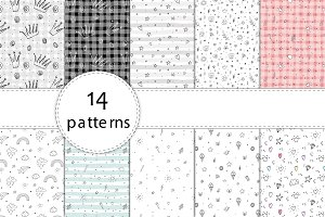 14 hand drawn seamless patterns!