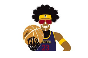 Basketball player skull icon