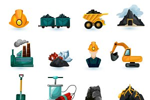 Mining industry icons set