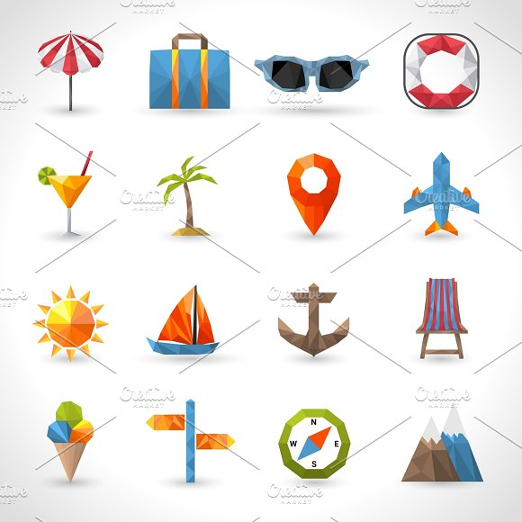 Travel Polygonal Icons Set