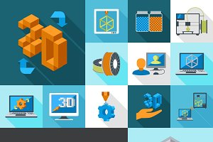 Printer digital 3d technology icons