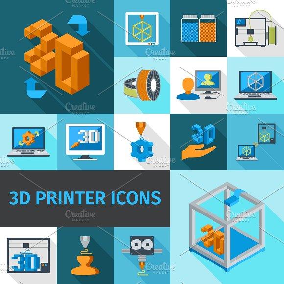 Printer Digital 3D Technology Icons