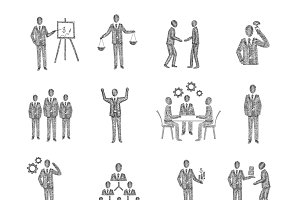 Business people icons sketch set