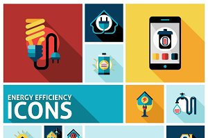 Energy efficiency icons set