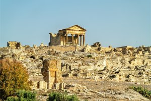 View of Dougga, an ancient Roman town in Tunisia