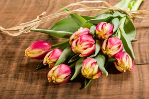 Red tulips tied with raffia