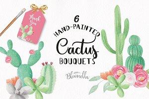 Cactus Watercolor Clipart Floral
