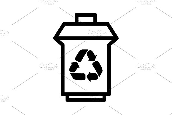 Trash Can With Recycling Symbol