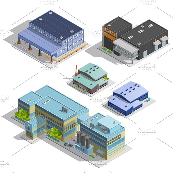 Factory Warehouse Isometric Images