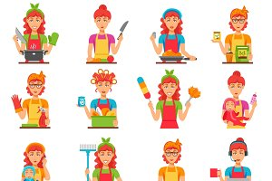 Housewife flat color icons set