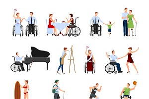 Disabled people flat icons