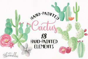 Watercolour Cactus Elements Clipart