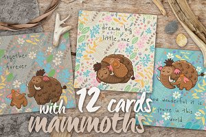 Floral cards with woolly mammoths