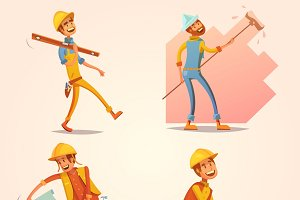 Construction builder cartoon icons