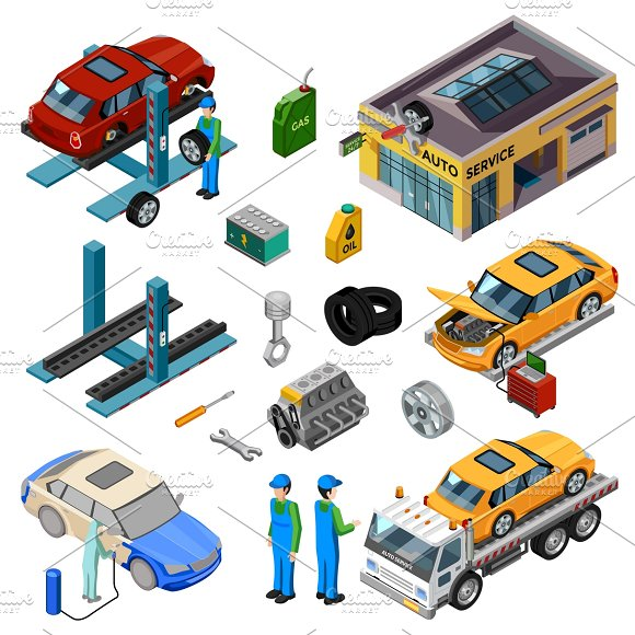Car Service Isometric Icons Set