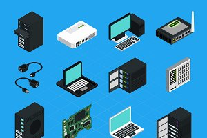 Data center server equipment icons